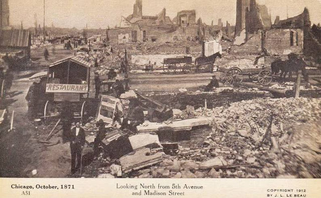 Photo of destruction after the Chicago Fire